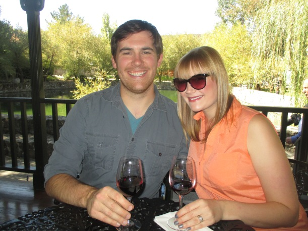 Enjoying a wine, cheese, and crackers lunch on a beautiful day at Cline Cellars.