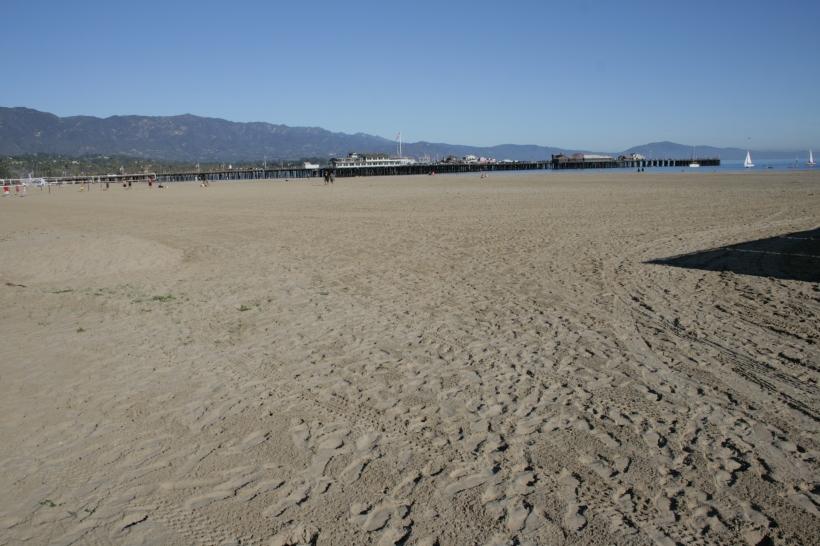 Santa Barbara beach and wooden boardwalk.